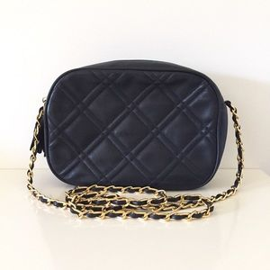 Vintage Navy Lambskin Quilted Crossbody Chain Bag